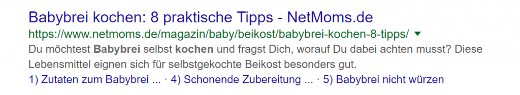 Babybrei kochen Suchanfrage Google